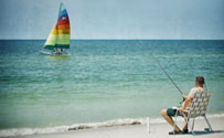 Man fishing from Mexico Beach Florida